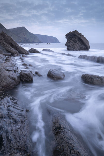 Atmospheric morning on the rocky coastline of North Devon, England, United Kingdom, Europe