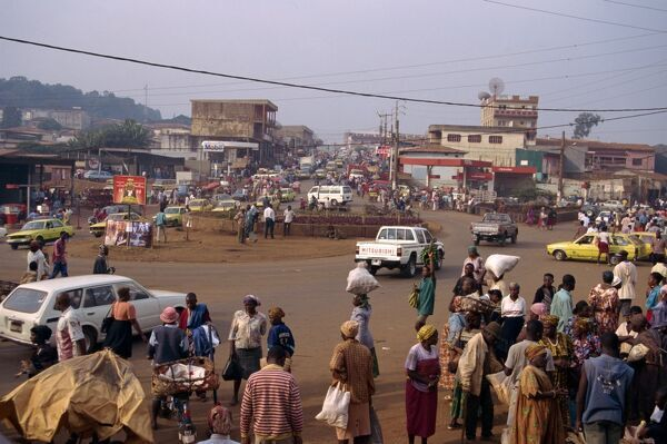 Busy street scene, Bafoussam, west Cameroon, Africa