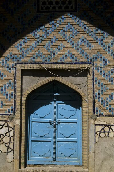 Doorway at the shrine of Khwaja Abdulla Ansari, Sufi poet and philosopher born in Herat in 1006, Gazar Gah, Herat, Afghanistan, Asia
