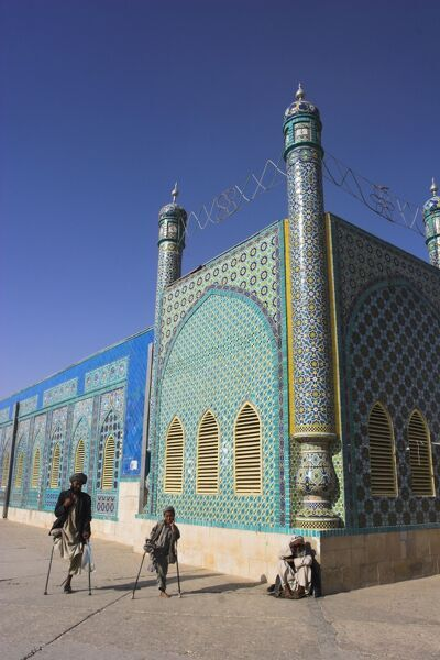 Father and son amputees outside the Shrine of Hazrat Ali, who was assassinated in 661, Mazar-I-Sharif, Afghanistan, Asia