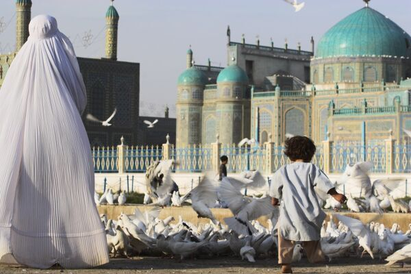 Lady in burqa feeding famous white pigeons whilst child chases them, Shrine of Hazrat Ali, Mazar-i-Sharif, Balkh, Afghanistan, Asia