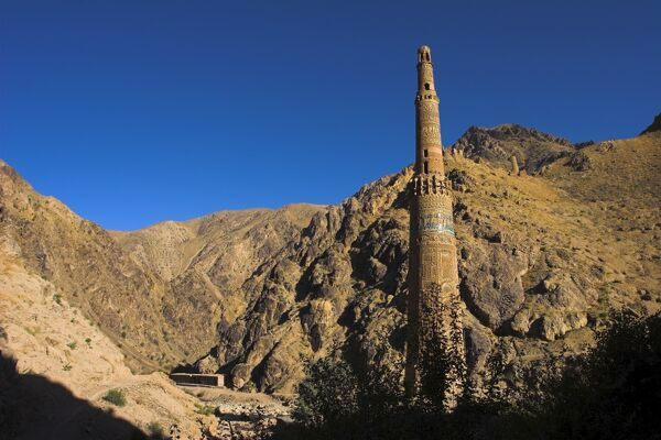 Minaret of Jam, UNESCO World Heritage Site, dating from the 12th century, with Quasr Zarafshan in background, Ghor Province, Afghanistan, Asia