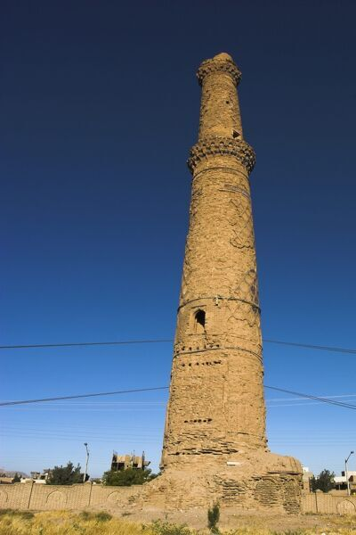 Minaret supported by steel cables to prevent it from collapse, a project undertaken by UNESCO and local experts in 2003, The Mousallah Complex, Herat, Herat Province, Afghanistan, Asia