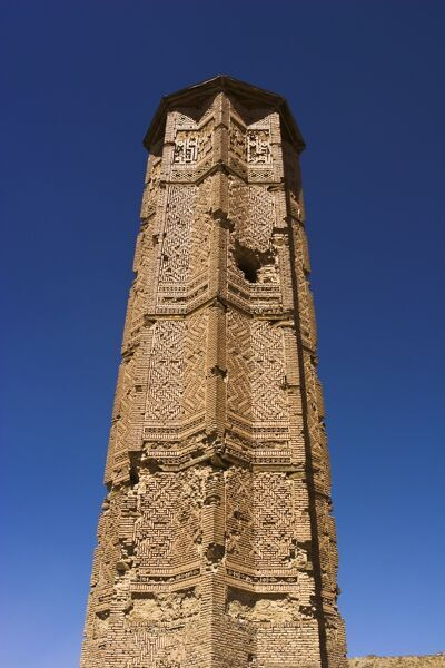 Mortar hole in the Minaret of Bahram Shah, one of two 12th century minarets believed to have served as models for the Minaret of Jam, with square Kufic and Noshki script, Ghazni, Afghanistan, Asia