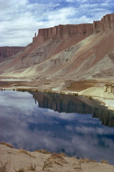 Reflections of mountains in the water of the Band-i-Amir lakes in Afghanistan, Asia