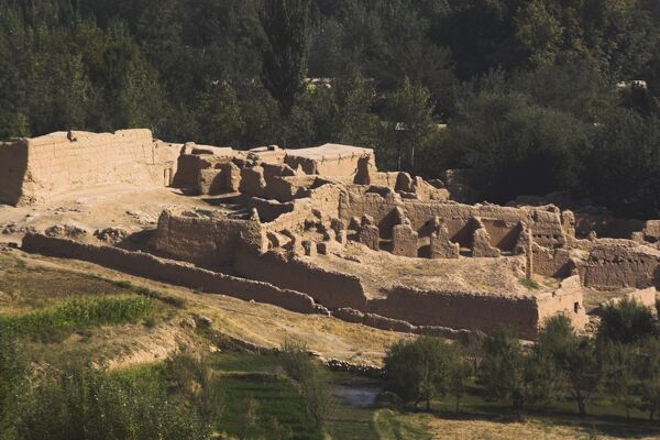 Ruins near Buddhist stupa, carved out of rock known as Top-I-Rustam (Rustam's throne) an early burial mound that contained relics of the Buddha, part of a monastery complex dating from the Kushano-Sasanian period 4th-5th century AD, near Haibak
