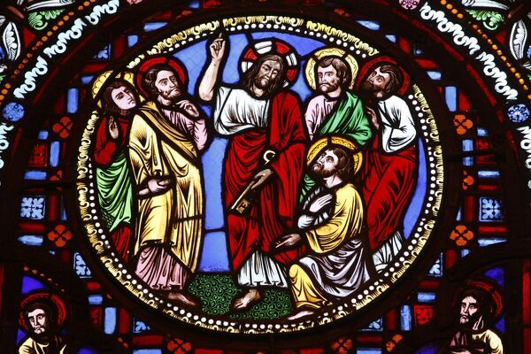 http://www.worldinprint.com/image/stained_glass_in_ainay_basilica_depicting_jesus_giving_keys_to_st_peter_4261163.jpg