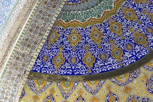 Detail of tilework, Shrine of Hazrat Ali, who was assassinated in 661, Mazar-I-Sharif, Balkh province, Afghanistan, Asia