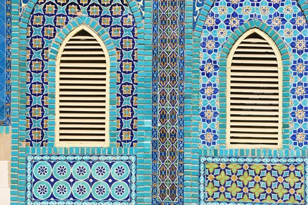 Tiling round shuttered windows, Shrine of Hazrat Ali, who was assissinated in 661, Mazar-I-Sharif, Balkh province, Afghanistan, Asia