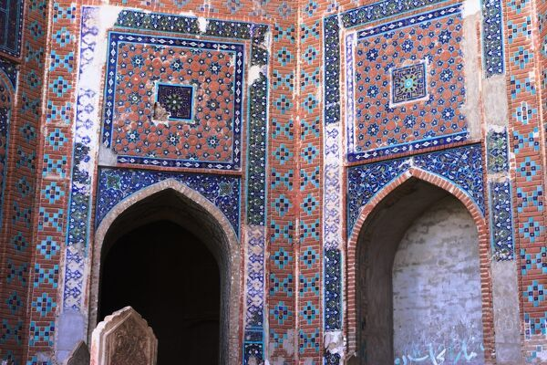Timurid decoration, main Iwan of the interior courtyard, Sufi shrine of Gazargah, Herat, Herat Province, Afghanistan, Asia