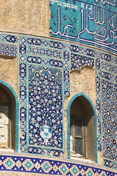 Detail of turquoise glazed tiles on late Timurid style Shrine of Khwaja Abu Nasr Parsa, Balkh (Mother of Cities), Balkh province, Afghanistan, Asia