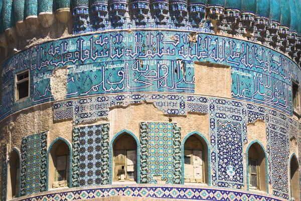 Detail of turquoise glazed tiles on Shrine of Khwaja Abu Nasr Parsa, Balkh (Mother of cities) Balkh province, Afghanistan, Asia