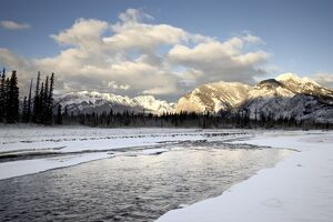 Fiddle River and Bosche Range in winter, Jasper National Park, UNESCO World Heritage Site