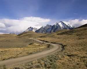 Road leading to Cuernos del Paine mountains, Torres del Paine National Park