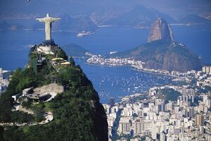 Statue of Christ the Redeemer overlooking city and Sugar Loaf mountain