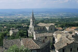 View over village and church to Luberon countryside, Bonnieux, Vaucluse