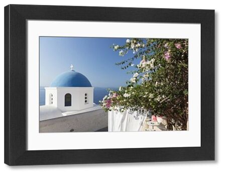 White church with blue dome and flowers, Oia, Santorini, Cyclades, Greek Islands, Greece, Europe