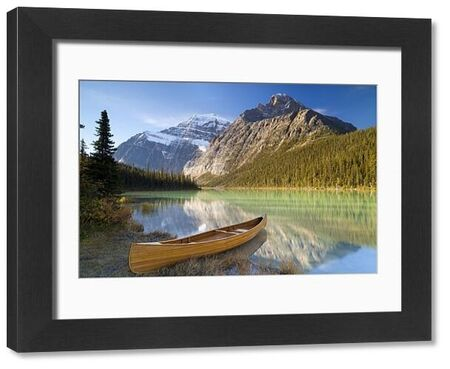 Canoe at Cavell Lake with Mount Edith Cavell in the Background, Jasper National Park, UNESCO World Heritage Site, Alberta, Rocky Mountains, Canada, North America