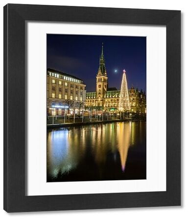 Reflection of Hamburg's Town Hall (Rathaus) and Christmas Market at blue hour, Hamburg, Germany, Europe