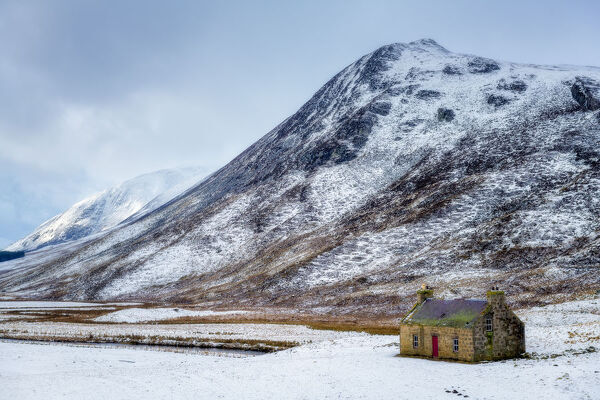 Abandoned croft in the snow, winter in the Cairngorms, Scotland, United Kingdom, Europe