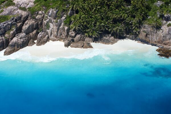 Aerial view of tropical beach, Seychelles, Indian Ocean, Africa