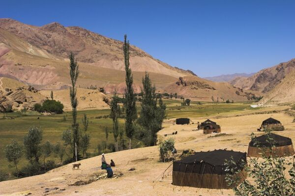 Aimaq nomad yurts near Pal-Kotal-i-Guk, between Chakhcharan and Jam, Afghanistan, Asia