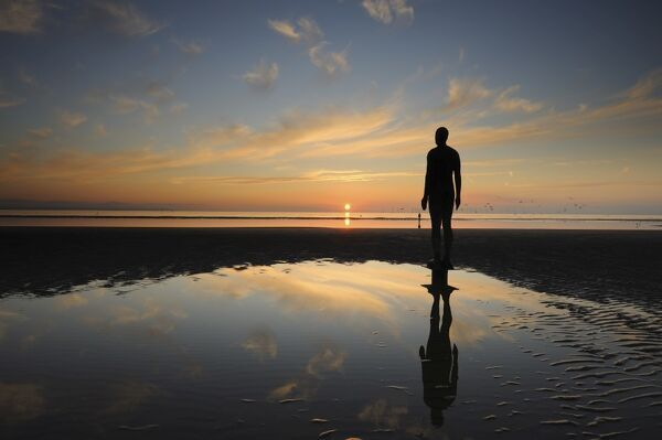 Antony Gormley sculpture, Another Place, Crosby Beach, Merseyside, England, United Kingdom, Europe