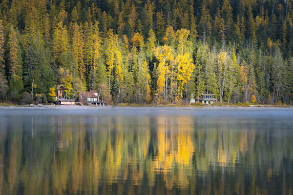 Autumn colours of Lake McDonald, Glacier National Park, Montana, United States of America, North America