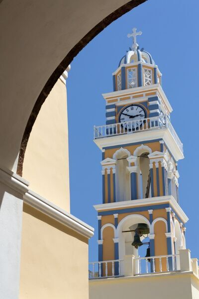 Belltower of the Catholic Cathedral Church of St. John the Baptist, Fira, Santorini, Cyclades, Greek Islands, Greece, Europe