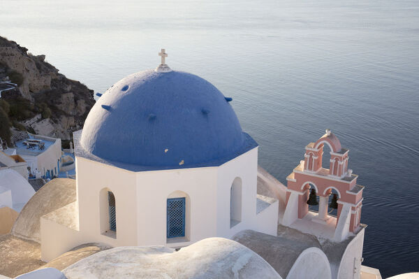 Blue-domed church in Santorini, Cyclades, Greek Islands, Greece, Europe