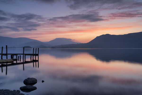 Brandlehow Jetty at dawn, Derwent Water, Lake District National Park, UNESCO World Heritage Site, Cumbria, England, United Kingdom, Europe