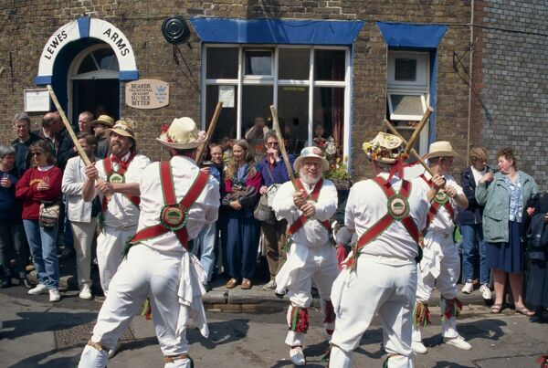 Chanctonbury ring of Morris dancers outside the Lewes Arms pub, Lewes, Sussex