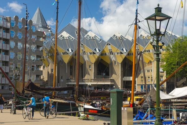 Cube houses (Pole Houses) (Tree Houses), Kubuswoningen, Rotterdam, South Holland, The Netherlands, Europe