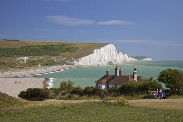 Cuckmere Haven, Seven Sisters white chalk cliffs, East Sussex, England