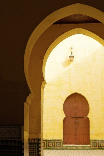 Doorways and arches in the Mausoleum of Moulay Ismail, Meknes, Morocco, North Africa, Africa