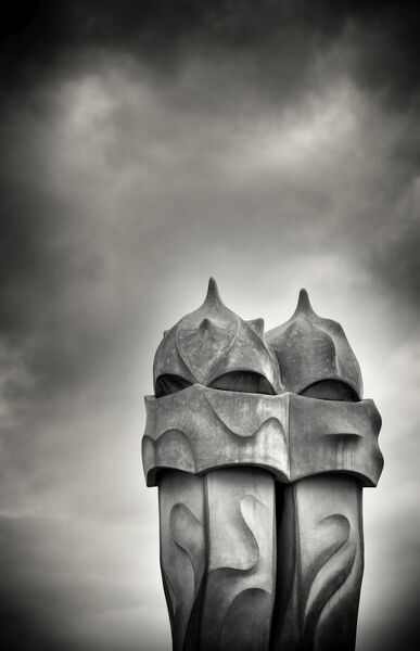 Gaudi chimneys on roof of Casa Mila (La Pedrera), UNESCO World Heritage Site, Barcelona, Catalonia, Spain, Europe