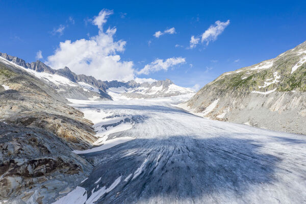 Ice tongue of Rhone Glacier in summer, Gletsch, Canton of Valais, Switzerland, Europe