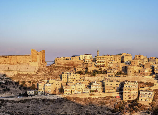 Kerak Castle at sunrise, Al-Karak, Karak Governorate, Jordan, Middle East