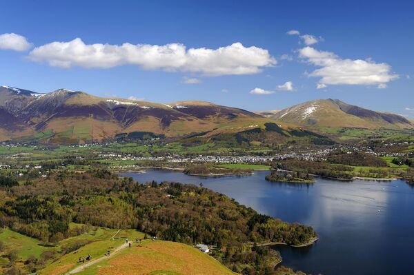Keswick and Skiddaw viewed from The Catbells, Derwent Water, Lake District National Park, Cumbria, England