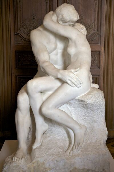 The Kiss by Auguste Rodin, 1889, marble sculpture in Rodin Museum, Paris, France, Europe