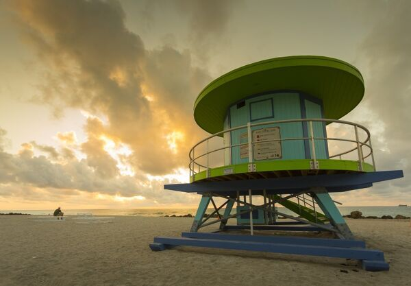 Lifeguard station on South Beach at sunrise, Miami Beach, Miami, Florida, United States of America, North America