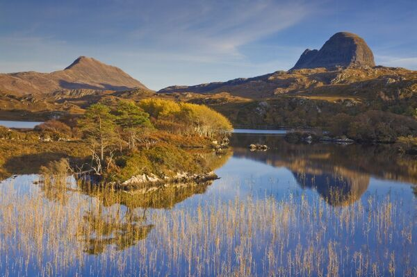 Two mountains of Suilven and Canisp from Loch Druim Suardalain, Sutherland