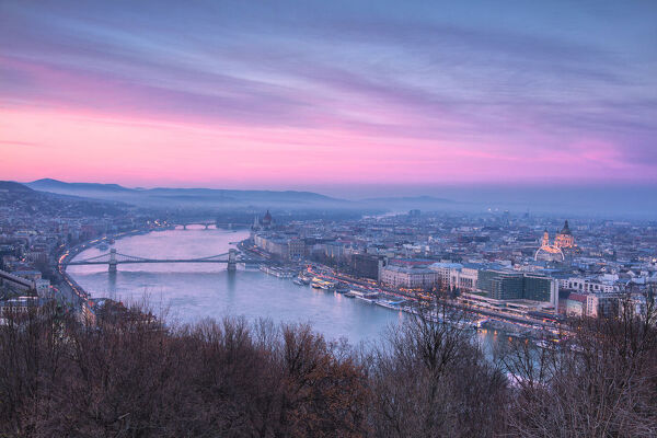 Overview of the city at sunset from The Citadel on Gellert Hill, Budapest, Hungary, Europe