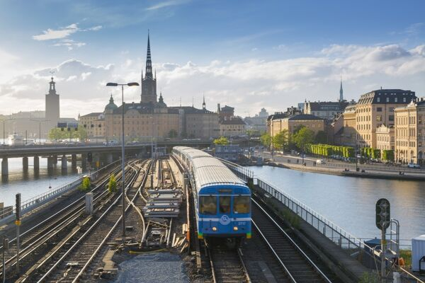 Riddarholmen Church and train from Sodermalm, Stockholm, Sweden, Scandinavia, Europe