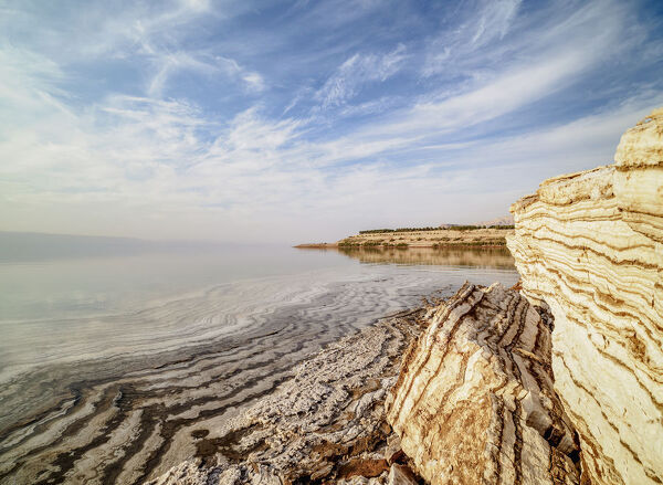 Salt formations on the shore of the Dead Sea, Karak Governorate, Jordan, Middle East