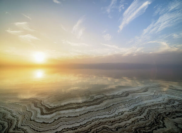 Salt formations on the shore of the Dead Sea at sunset, Karak Governorate, Jordan, Middle East