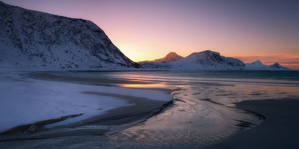 Snow covered Haukland Beach at sunset, Lofoten, Nordland, Norway, Europe