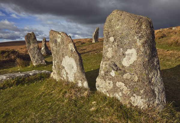 Standing stones at the prehistoric Scorhill Stone Circle, on Gidleigh Common, Dartmoor National Park, Devon, England, United Kingdom, Europe