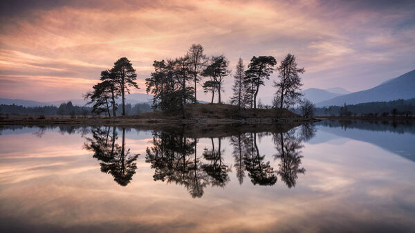 Sunset over Loch Tulla and Black Mount, The Central Highlands, Scotland, United Kingdom, Europe