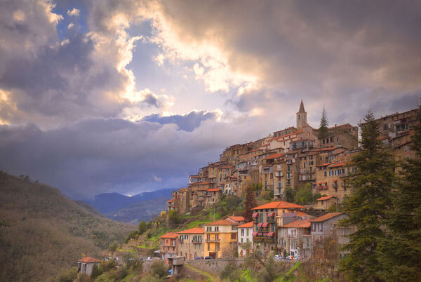 Sunset at the village of Apricale, Province of Imperia, Liguria, Italy, Europe